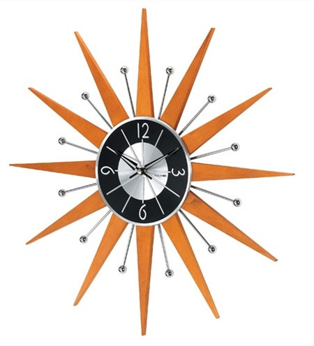 Starburst Wooden Wall Clock