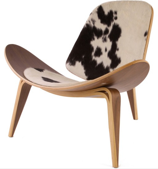 wegner shell chair cowhide