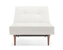 Splitback Chair With Wooden Legs - White Leather