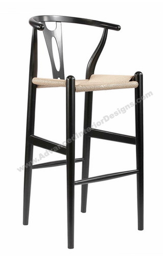 Wishbone Bar Stool Black