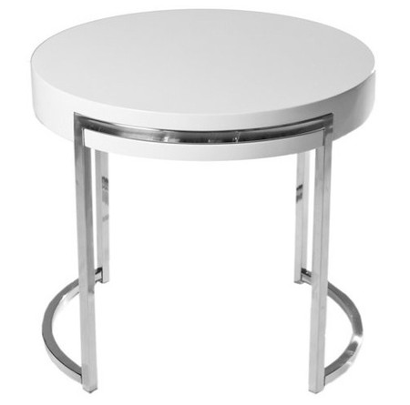 Ross Round Side Table White Lacquer