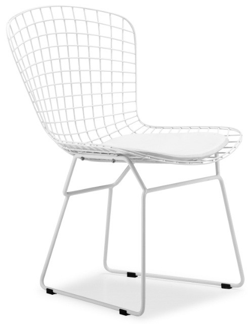 Bertoia Side Chair With White Frame