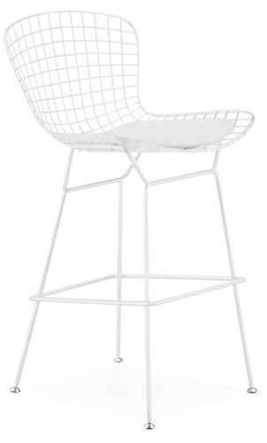 Bertoia Wire Barstool With White Frame