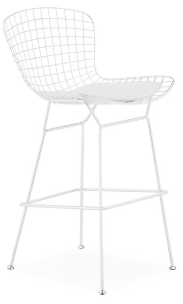 Bertoia Wire Counter Stool With White Frame
