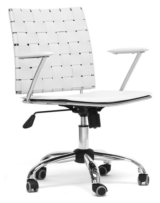 Baxton Studio Vittoria Leather Modern Office Chair - White, Black ...