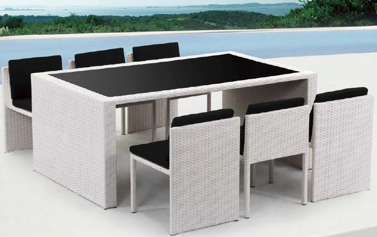 Bliss 7 Piece Outdoor Dining Set Elegan And Unique Outdoor Patio Furniture