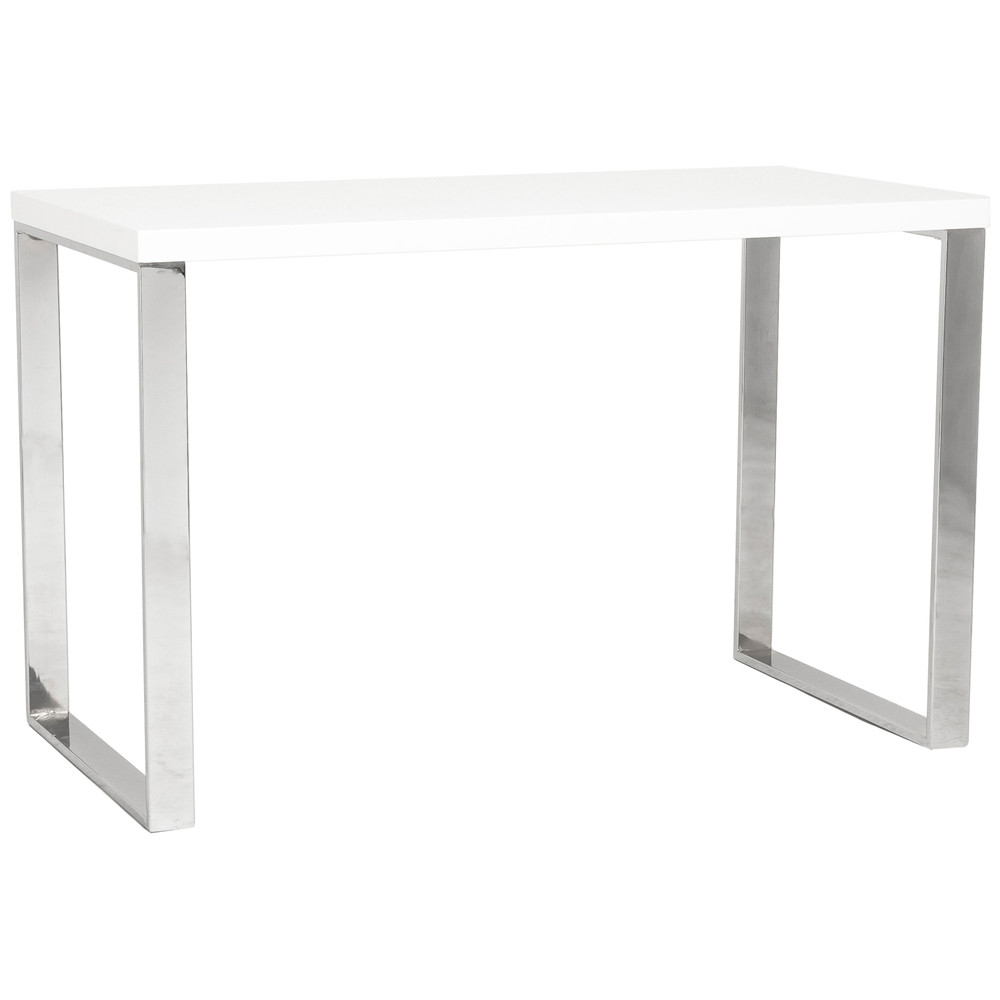 Jesper Office Desk In Glossy White or Gray Top Home and Office