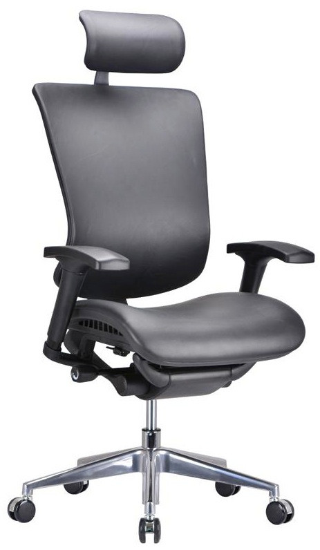 modrest watson modern black leather office chair - Leather Office Chairs