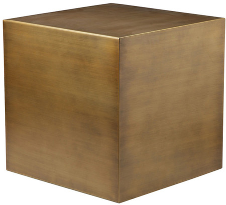 Cube Side Table, Brushed Brass