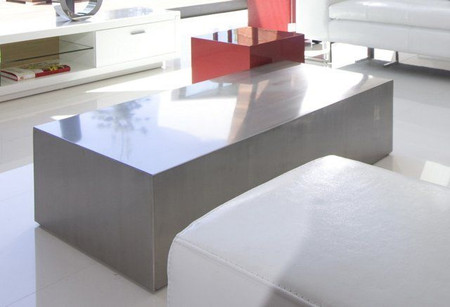 Cube Coffee Table, Brushed Steel
