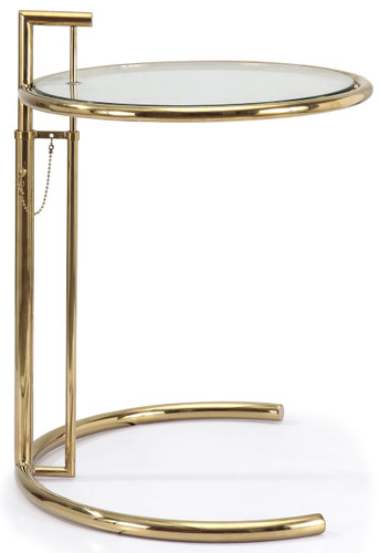 Eileen Gray Side Table In Gold Finish Side And End Tables Fast Shipping