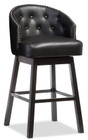 Isaac Tufted Swivel Barstool With Nail Heads Trim