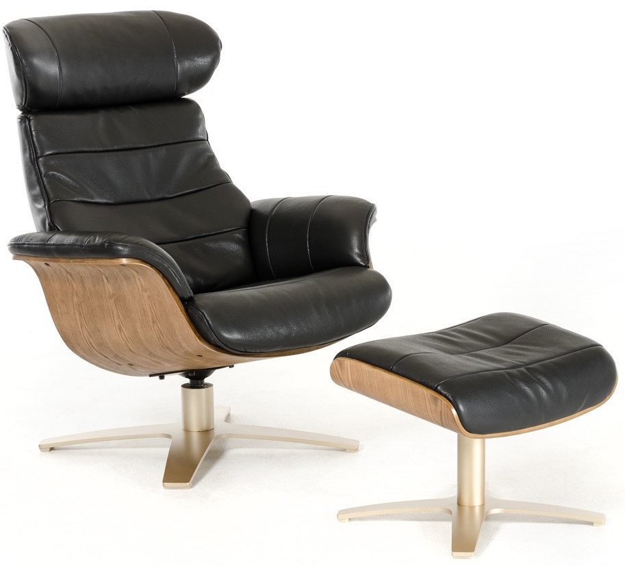 Good Luxur Leather Reclining Lounge Chair And Ottoman