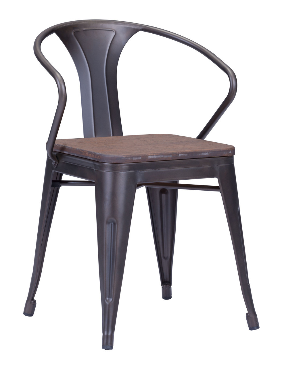 Zuo Helix Dining Chair With Wood Seat Gunmetal Chairs