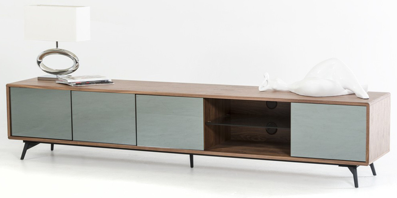 Aiden Walnut TV Stand - Mid Century Low Profile Entertainment Units