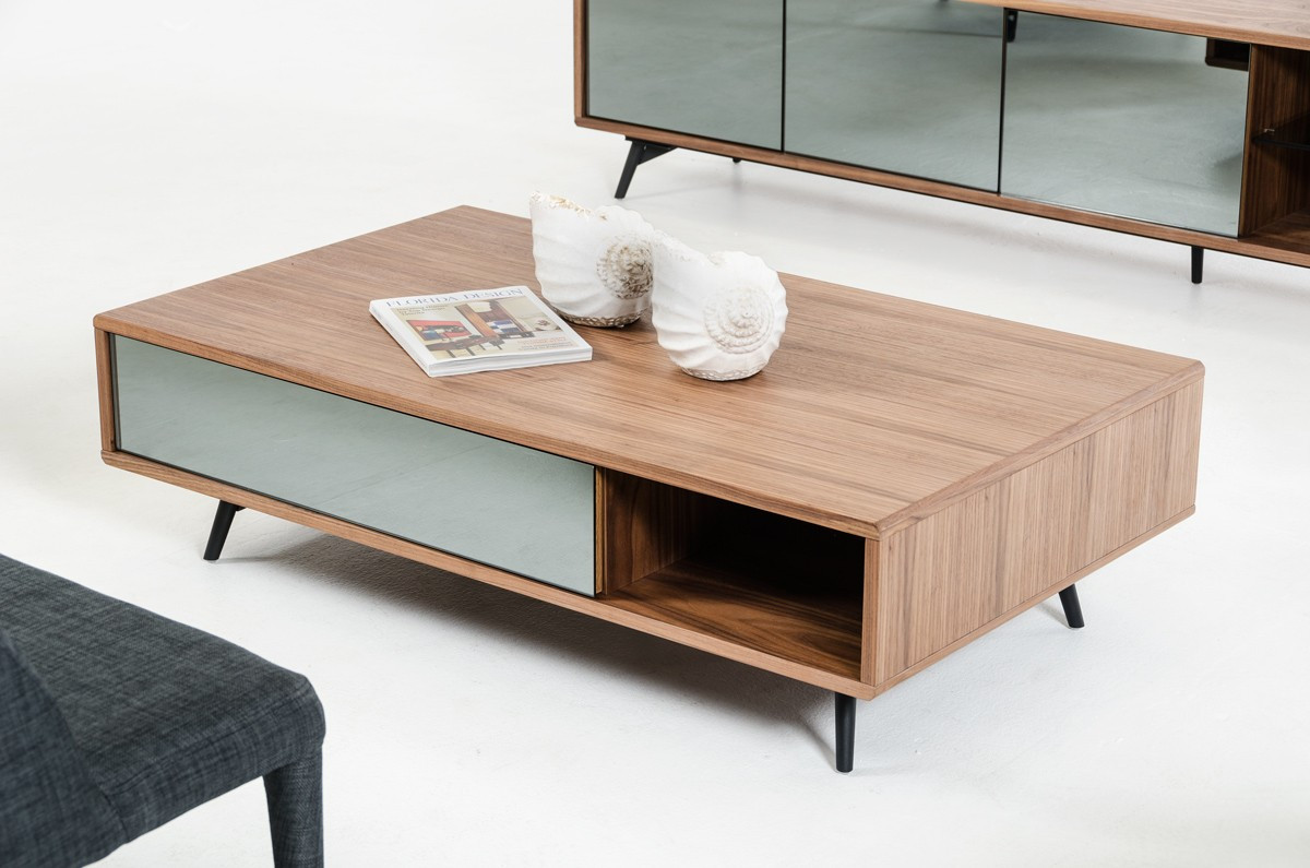 Aiden Mid Century Walnut Coffee Table Coffee Table Mid