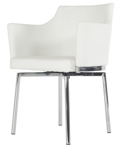 white leatherette dining chair