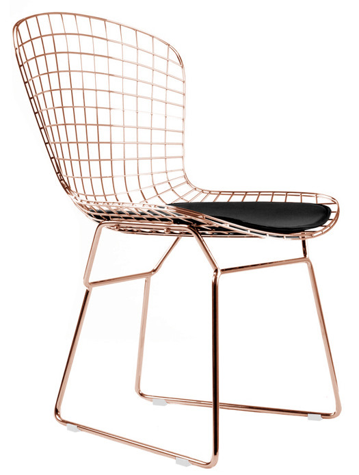 Bertoia Side Chair In Rose Gold Finish Mid Century