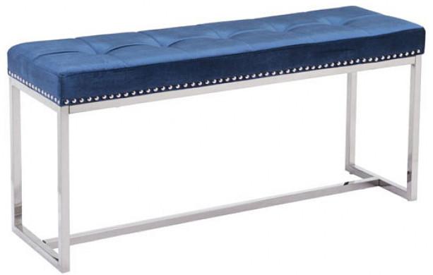 Synchrony Bench Cobalt Blue Velvet Vintage Style Bench By Zuo