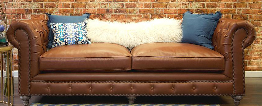 Bon Brown Leather Chesterfield Sofa