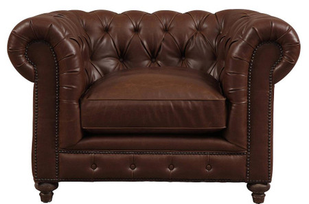 brown leather chesterfield armchair