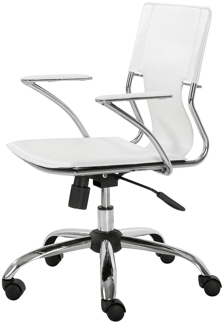 trafico office chair white zuo 205182 modern office chair. Black Bedroom Furniture Sets. Home Design Ideas