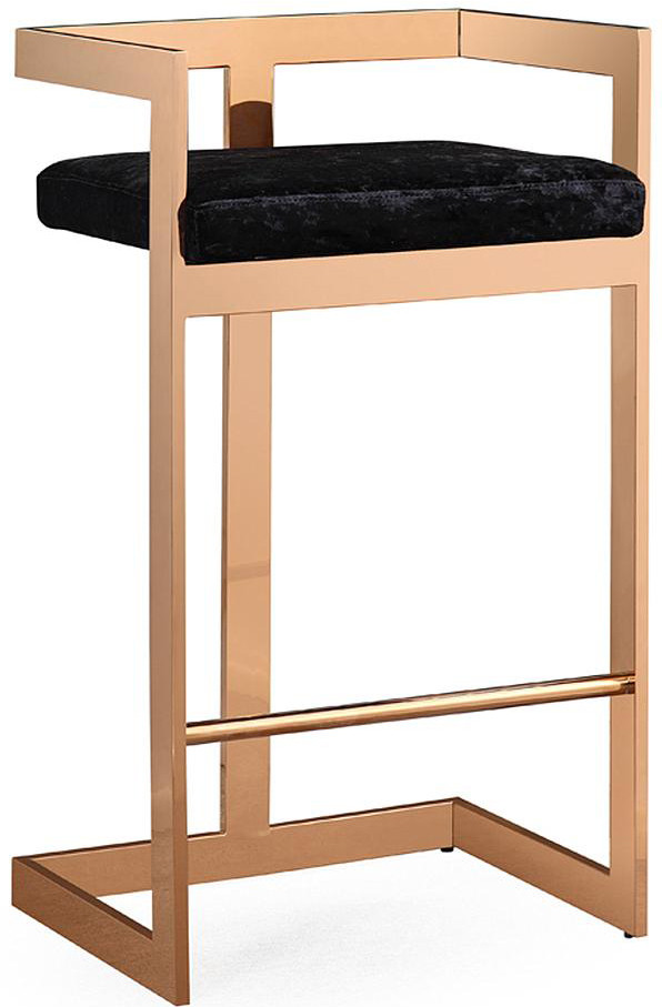 Valentina Black Velvet Bar Stool Rose Gold Barstool