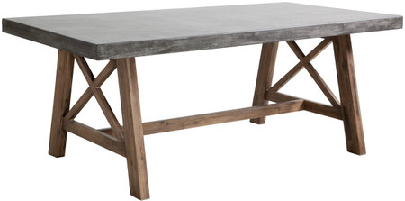 Zuo Modern Ford Dining Table In Cement and Natural Finished In Acacia Wood