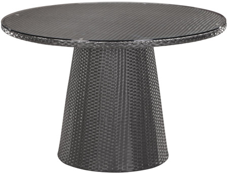 Zuo Modern Avalon Dining Table In Espresso And Made With Synthetic Weave and A Round Tempered Glass Top