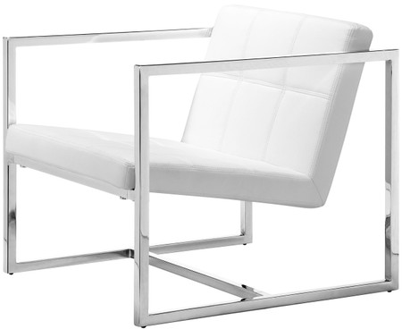 Carbon Occasional Chair In White Leatherette With A Chromed Steel Frame.
