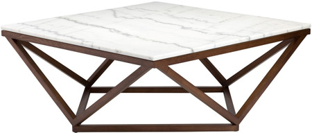 Nuevo Living Jasmine Coffee Table In White Marble And AN Ash Stained Walnut Frame