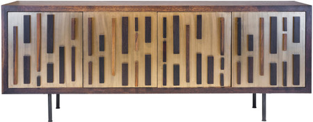 Nuevo Living Blok Buffet Made With Seared Oak And Bronze Finish