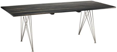 Zola Dining Table Made In Ebonized Oak And Stainless Steel