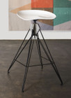 Kahn Bar Stool With White Cast iron Seat And Blackened Steel Frame
