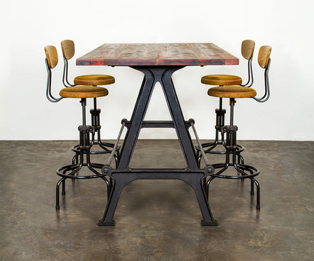 Nuevo Kosen Dining Table Made With Reclaimed Hard Wood And A Cast Iron Base