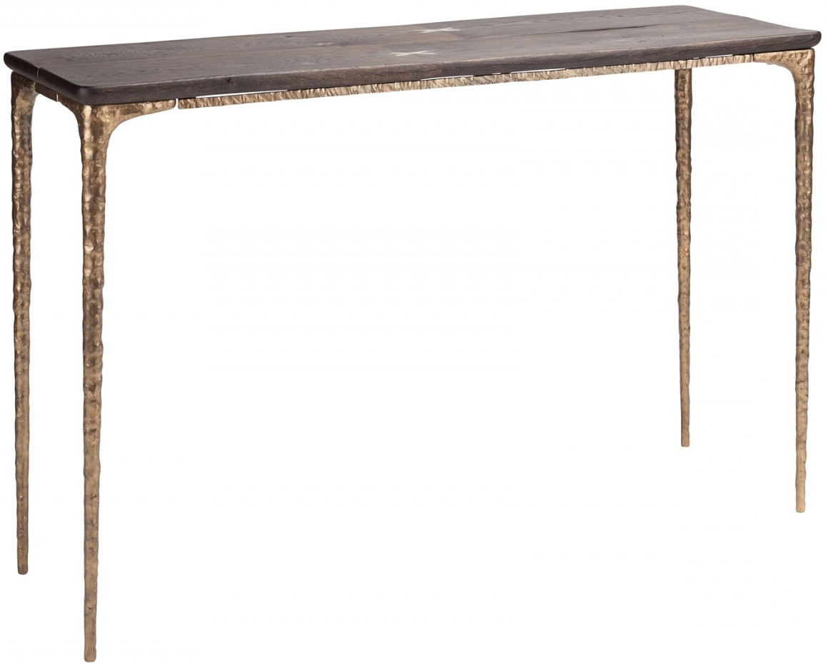Kulu Console Seared Oak Gilded Bronze Cast Iron