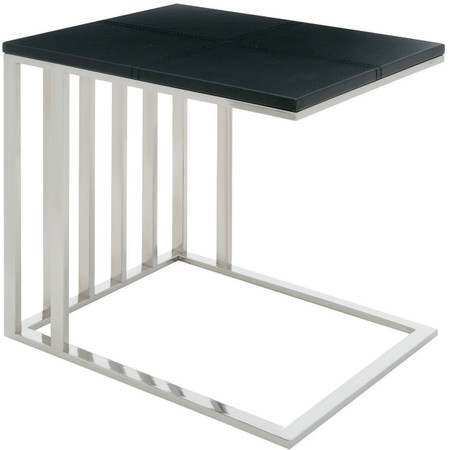 El Side Table Black Leather and Chrome