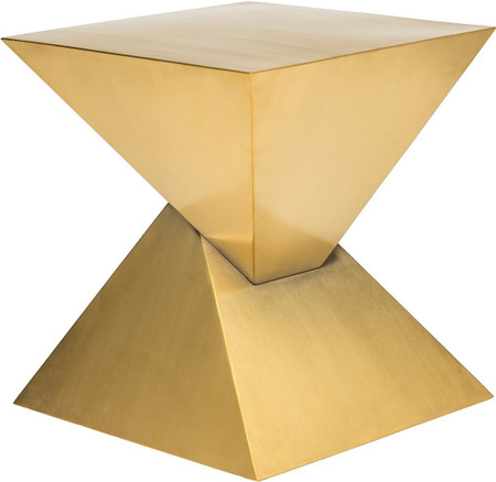 Pyramid End Table Brushed Gold
