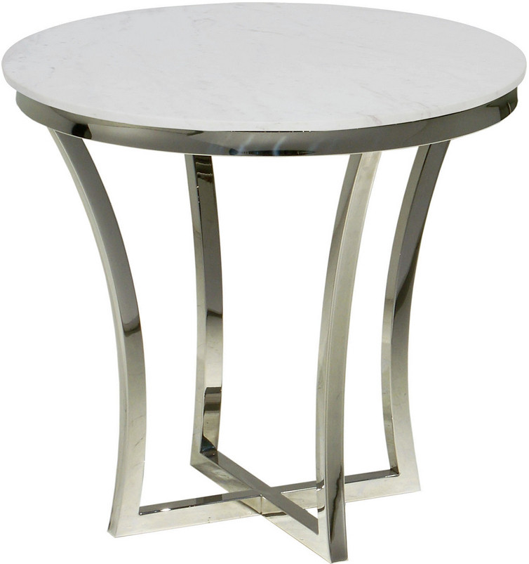 Aurora side table in stainless steel finish round marble for Round marble side table