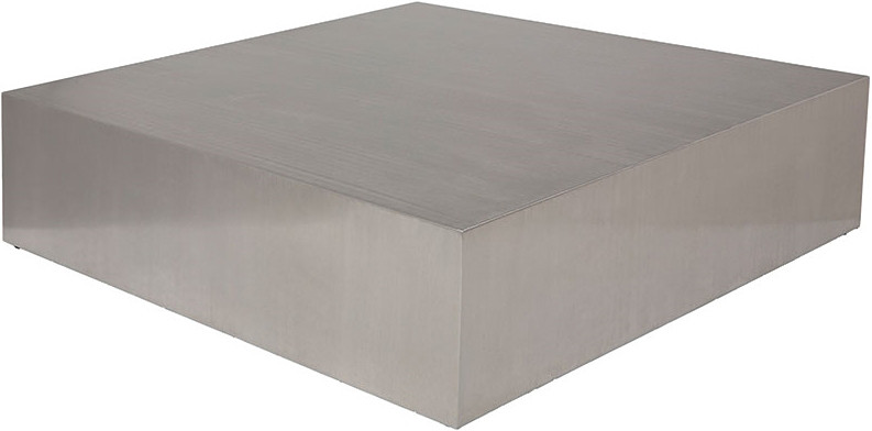 Low profile square coffee table brushed stainless steel for Low profile white coffee table