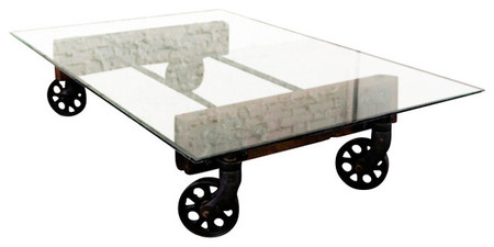 Coffee Table Cast Iron Wheels And Glass Top