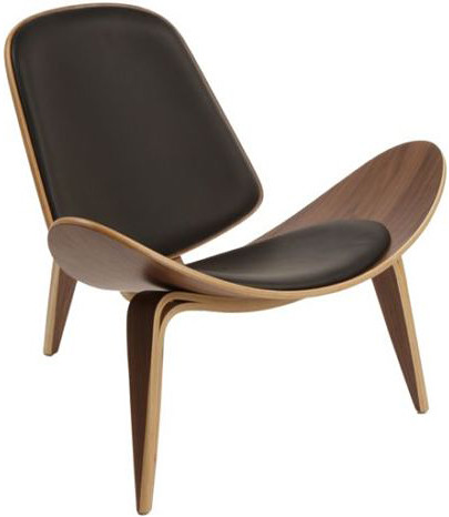 Artemis Lounge Chair Black Leather Walnut