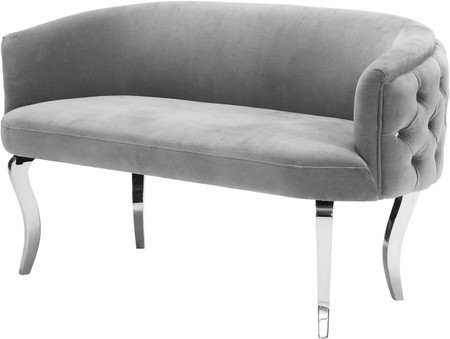 Taylor Loveseat In Grey Velvet With Silver Legs