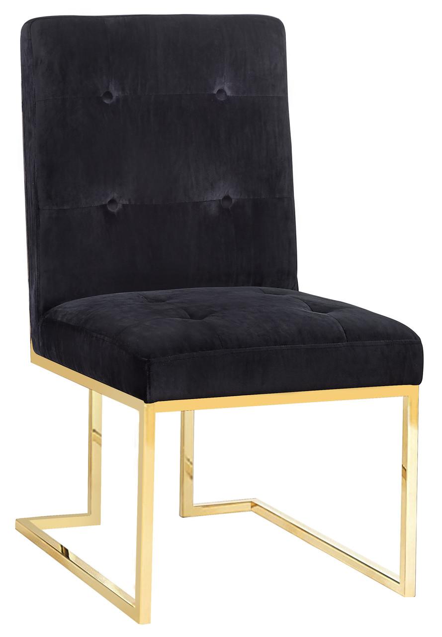 Tov Osaka Black Velvet Chair Navy