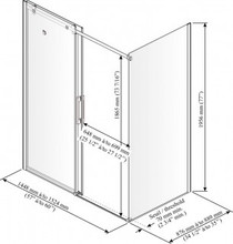 "Kalia Rollax Square Shower Glass Enclosure 60''X 36""X 77''"