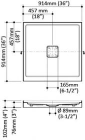 "Kalia KOVER 36"" X 36"" X 3"" Square acrylic shower base"
