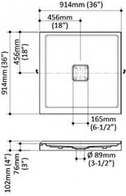 "Kalia KOVER 36"" X 36"" X 3"" Square acrylic shower base central drain"