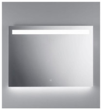 "Illusion illuminated LED mirror with frosted horizontal stripe backlit bottom 31 1/2"" x 51 1/8"" x 3 5/8"""