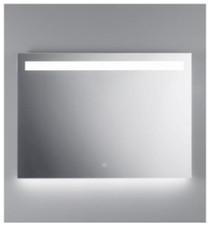 "Illusion illuminated LED mirror with frosted horizontal stripe backlit bottom 31 1/2"" x 43 1/4"" x 3 5/8"""