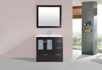 "Hamilton 32"" Espresso Single Modern Bathroom Vanity with Integrated Sink - Right"